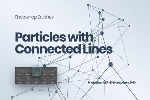 带连接线粒子抽象图形PS笔刷 Particles with Connected Lines Photoshop Brushes插图1