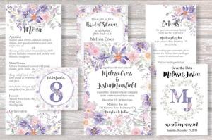 紫色梦幻水彩花卉图案设计素材包 Purple Dreams Watercolor Design Set插图2