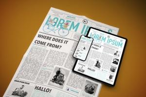 电子版报纸版式设计效果图样机 Newspaper App MockUp插图4