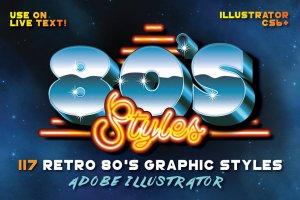 80年代复古文本图层样式 80's Retro Graphic Styles插图1