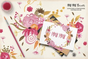 手绘水彩粉红色的花朵剪贴画素材  Pink Pink Flowers插图1