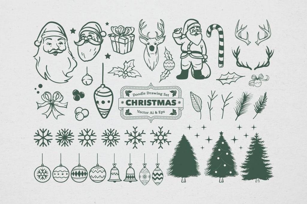 圣诞节主题矢量手绘设计素材[黑白风格] Christmas Drawing Set插图