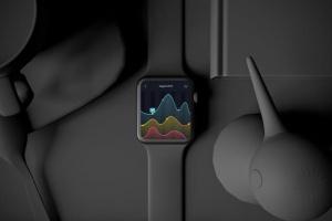 时尚深色Apple智能手表样机模板 Dark Apple watch插图6
