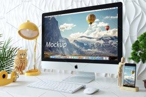 苹果一体机桌面显示样机模板 iMac Mockup (7 PSD) + Bonus插图4