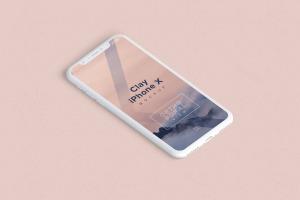 多个iPhone X智能手机屏幕等距平铺视觉样机模板 Clay iPhone X Mockup 02插图4