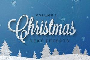 圣诞节主题文本图层样式v1 Christmas Text Effects Vol.1插图1