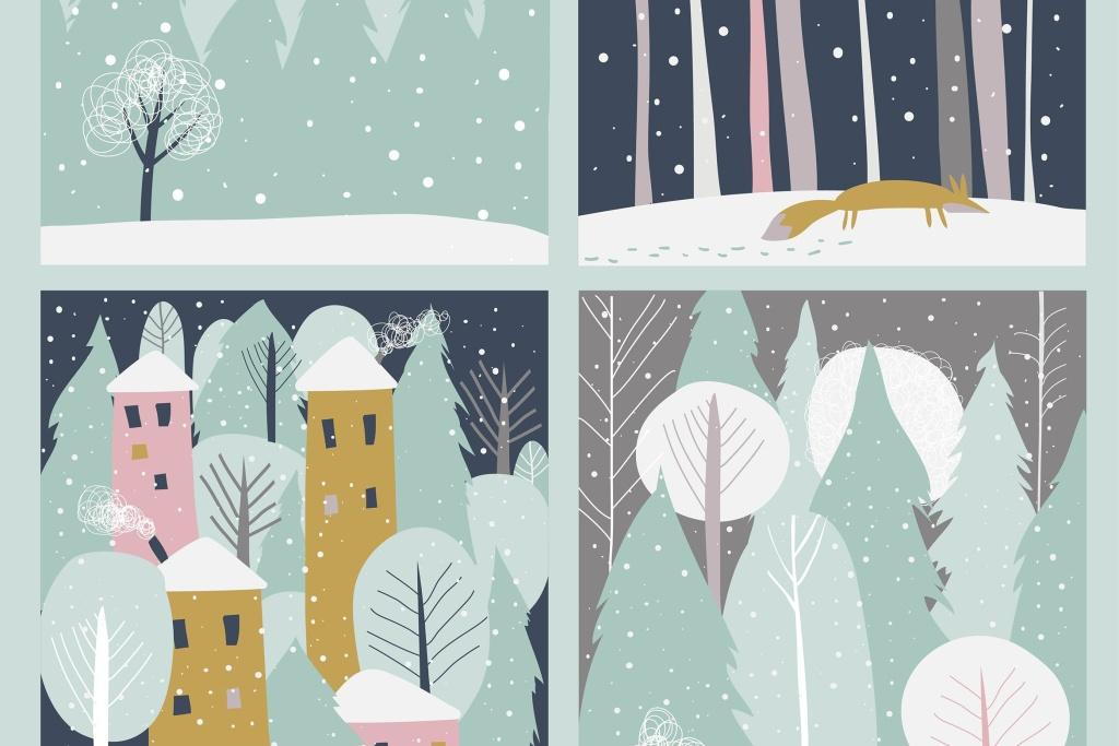矢量手绘设计风格冬天雪景矢量插画素材 Set of winter lanscape in flat style. Vector插图
