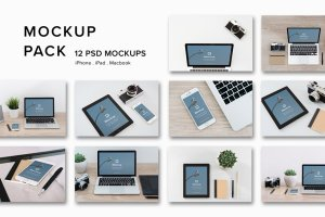 12款苹果笔记本&平板样机模板 Mockup Pack – 12 PSDs插图1