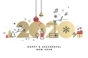 圣诞节&2020年新年主题创意数字矢量插画设计素材v2 Business Happy New Year 2020 greeting card插图1
