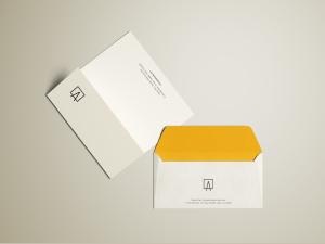 简约风企业信封&信纸设计图样机模板 Envelope & Letterhead Mockup插图1