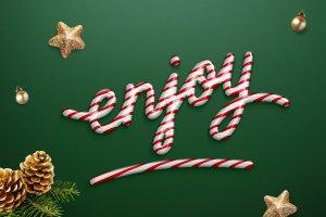 圣诞节日气氛创意海报字体PS图层样式 Christmas text effect插图5