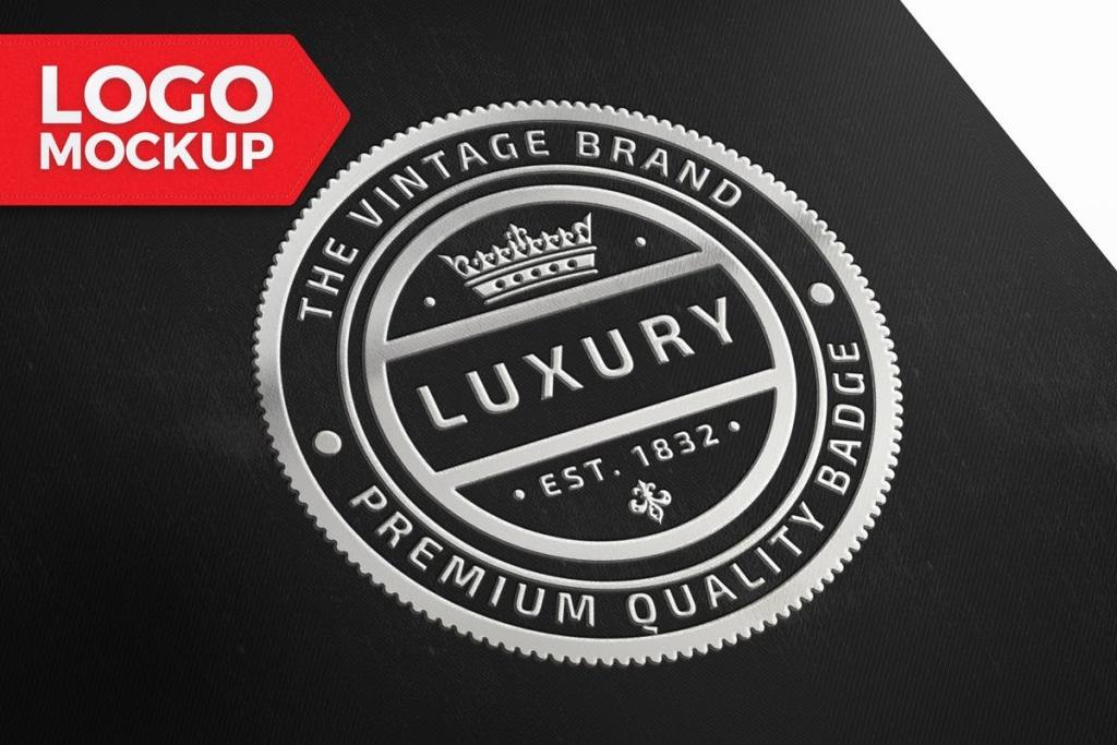品牌商标&Logo设计预览样机模板 Silver Logo Mockup插图