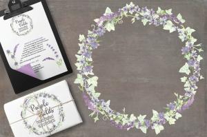 紫色水彩手绘花环图案PNG素材 Trio of Watercolor Floral Wreaths in Purple Shades插图4