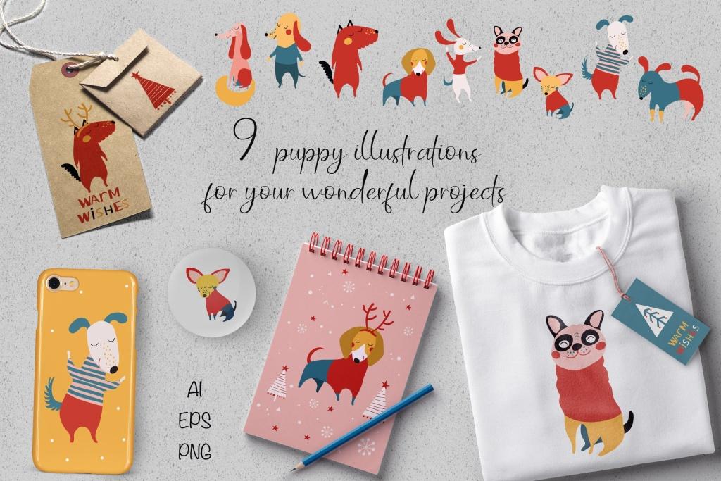 圣诞小狗可爱动物矢量手绘插画素材 Christmas Puppies插图