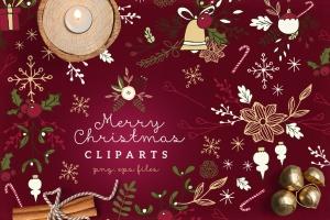 圣诞节主题矢量手绘剪贴画素材 Christmas Cliparts插图1