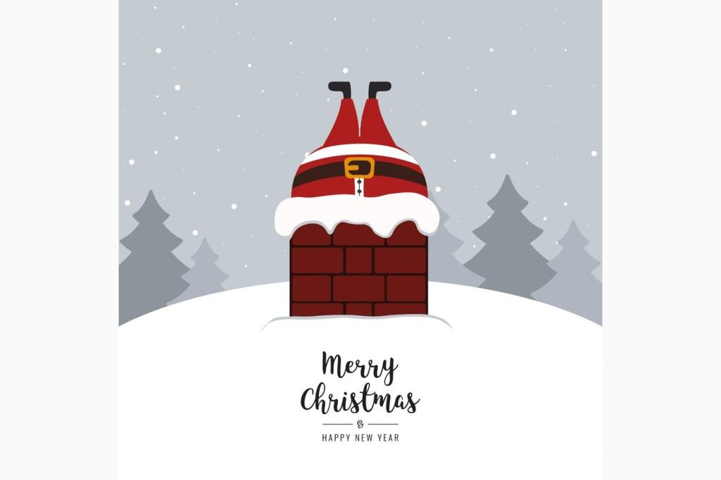 烟囱里的圣诞老人矢量插画素材 Santa claus stuck in chimney winter snowy插图