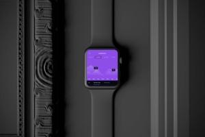 时尚深色Apple智能手表样机模板 Dark Apple watch插图2