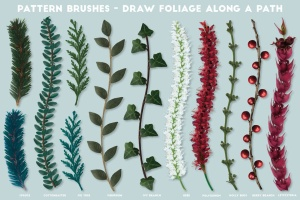 逼真植物花卉图案AI笔刷 The Vector Florist – Brushes: Winter插图(9)