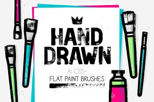 扁平笔头绘画笔画AI笔刷 AI flat paint brushes插图1