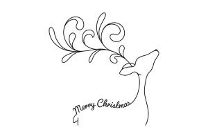 驯鹿线条手绘艺术矢量插画素材 Reindeer with Greetings – Line Art Vector Drawing插图2
