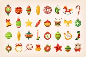 圣诞装饰球彩色矢量图标素材 Christmas Balls Icons插图1