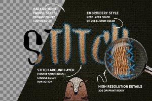 裁缝缝线效果PS笔刷 STITCH Effect Photoshop Tooklit插图2