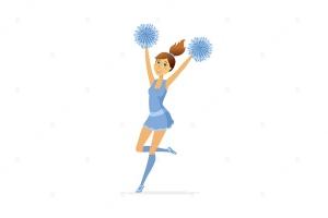 舞蹈啦啦队长卡通人物矢量图形设计素材 Dancing cheerleader – cartoon people character插图1