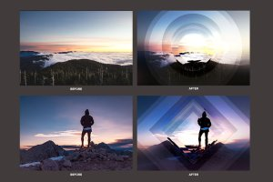 几何科幻照片效果处理PSD模板 Geometric Haze Photoshop Template插图2