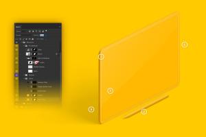 iPad Pro平板电脑黏土陶瓷材质等距右视图样机03 Clay iPad Pro 12.9 Mockup, Isometric Right View 03插图6