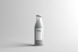 玻璃牛奶瓶牛奶品牌Logo设计展示样机模板 Milk Bottle Packaging Mock-Up插图2