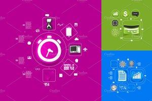 9个商业信息图形贴纸矢量图 9 business sticker infographics插图2