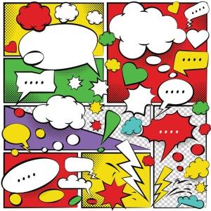 美式动漫对话泡泡框手绘图形设计素材 Comic Speech Bubbles Design插图2