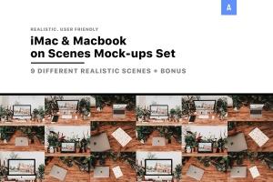 iMac&Macbook办公场景样机 iMac & Macbook on Scenes Mock-ups插图1
