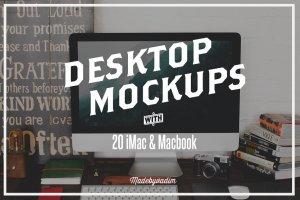 20款苹果一体机&笔记本电脑样机合集 20 iMac & Macbook screen mockups插图1
