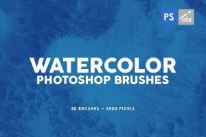 30款水彩绘画手工制作纹理肌理PS笔刷v3 30 Watercolor Texture Photoshop Brushes Vol. 3插图1