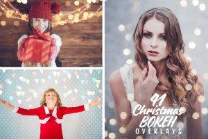 圣诞灯饰光影照片处理图层样式 Christmas Overlays for Photographers插图1