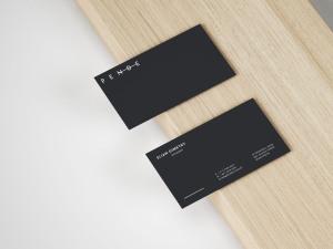 简约高级名片设计效果图样机模板 Slim Business Card Mockup插图1