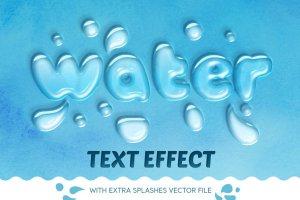 逼真水滴水纹效果PS字体样式 WATER TEXT EFFECT插图1