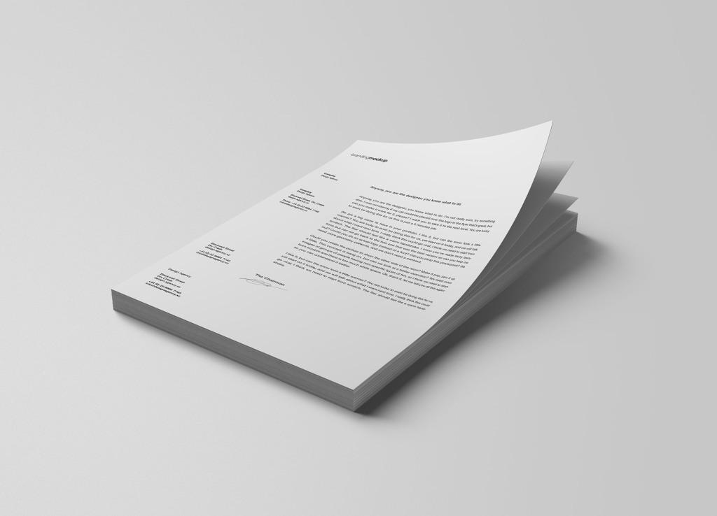 堆叠式信纸设计效果图样机模板 Stacked Letterheads Mockup插图
