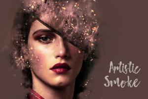 8款照片添加梦幻烟雾效果PSD分层模板 Artistic Smoke Portrait Psd Photo Effect Templates插图1