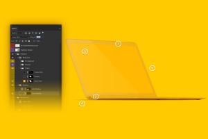 MacBook高端笔记本屏幕演示左前视图样机 Clay MacBook Mockup, Front Left View插图6