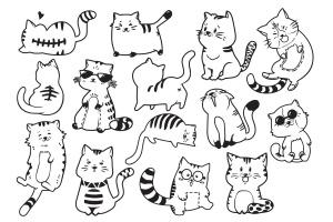 可爱有趣卡通猫涂鸦手绘矢量图案素材 Cute and Funny Cats Doodle Vector插图2