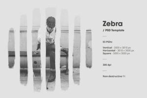 水墨斑马条纹遮罩效果PSD分层模板 Zebra插图3