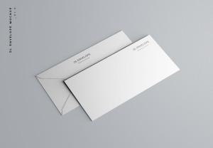 企业信封设计图样机模板 Baronial DL Envelope Mockup插图1