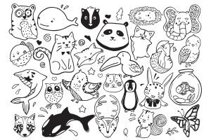 可爱卡通动物涂鸦手绘矢量图案素材 Cute Animal Doodle Vector插图2