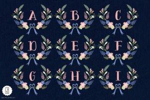 花环桂冠花背景装饰素材 Floral wreaths laurels monogram C75插图2
