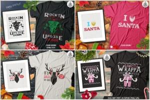 20款圣诞节主题复古风T恤印花图案设计素材包 Christmas T-Shirt Designs Retro Bundle. Xmas Tees插图2