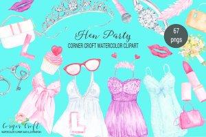 舞会/聚会装扮水彩剪贴画 Watercolor Hen Party Clipart插图1