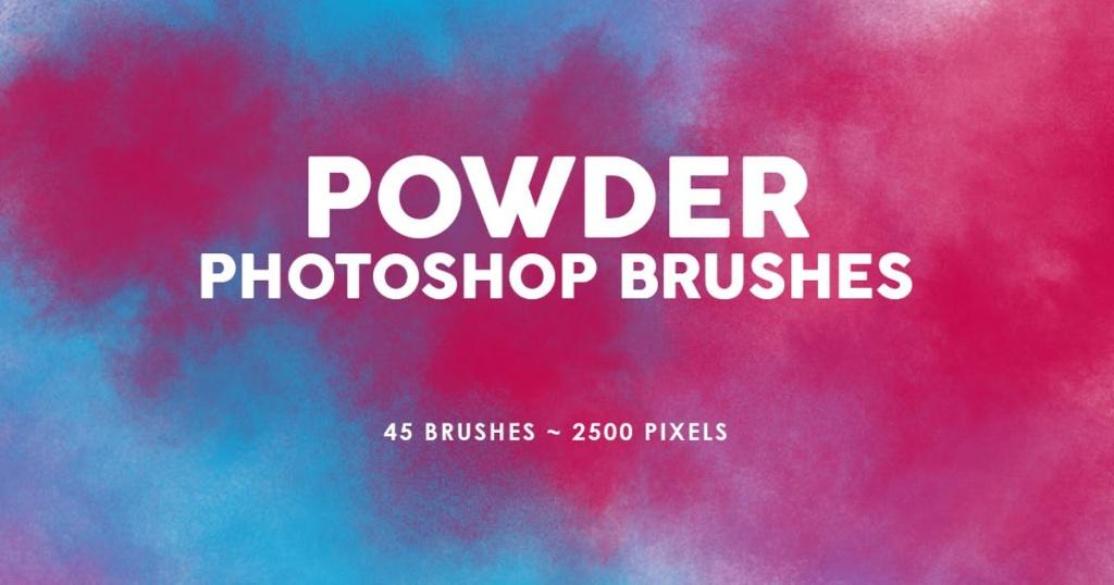 45个烟雾效果PS图案印章笔刷v1 45 Powder Photoshop Stamp Brushes Vol.2插图