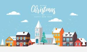 圣诞节&2020新年快乐主题矢量场景插画素材 Merry Christmas and and Happy New Year cards插图(6)